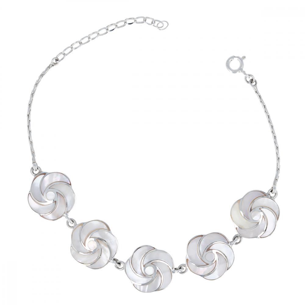 WHITE MOTHER OF PEARL STERLING SILVER BRACELET NATURAL COLOR