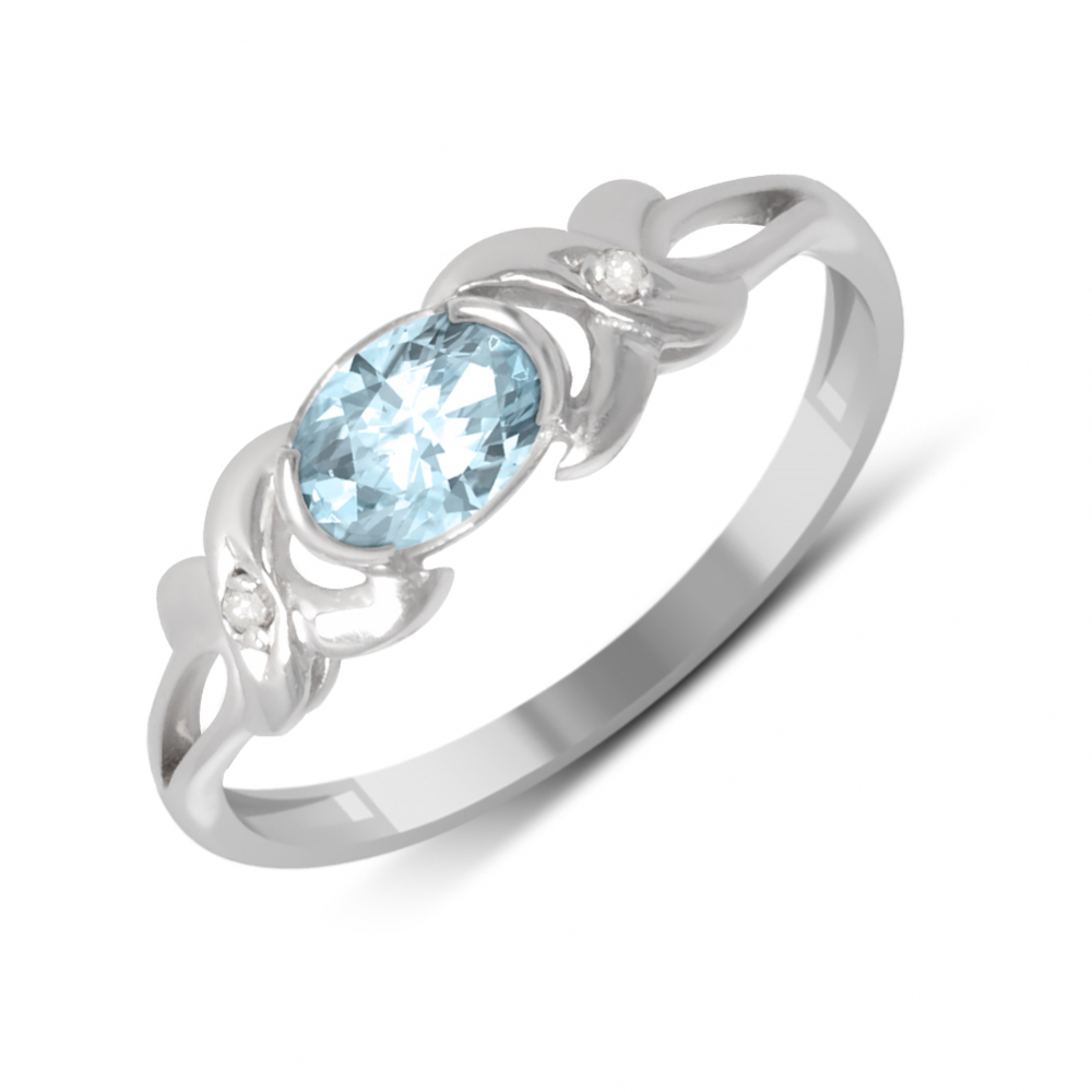 925 Sterling Silver Aquamarine and Diamonds Ring