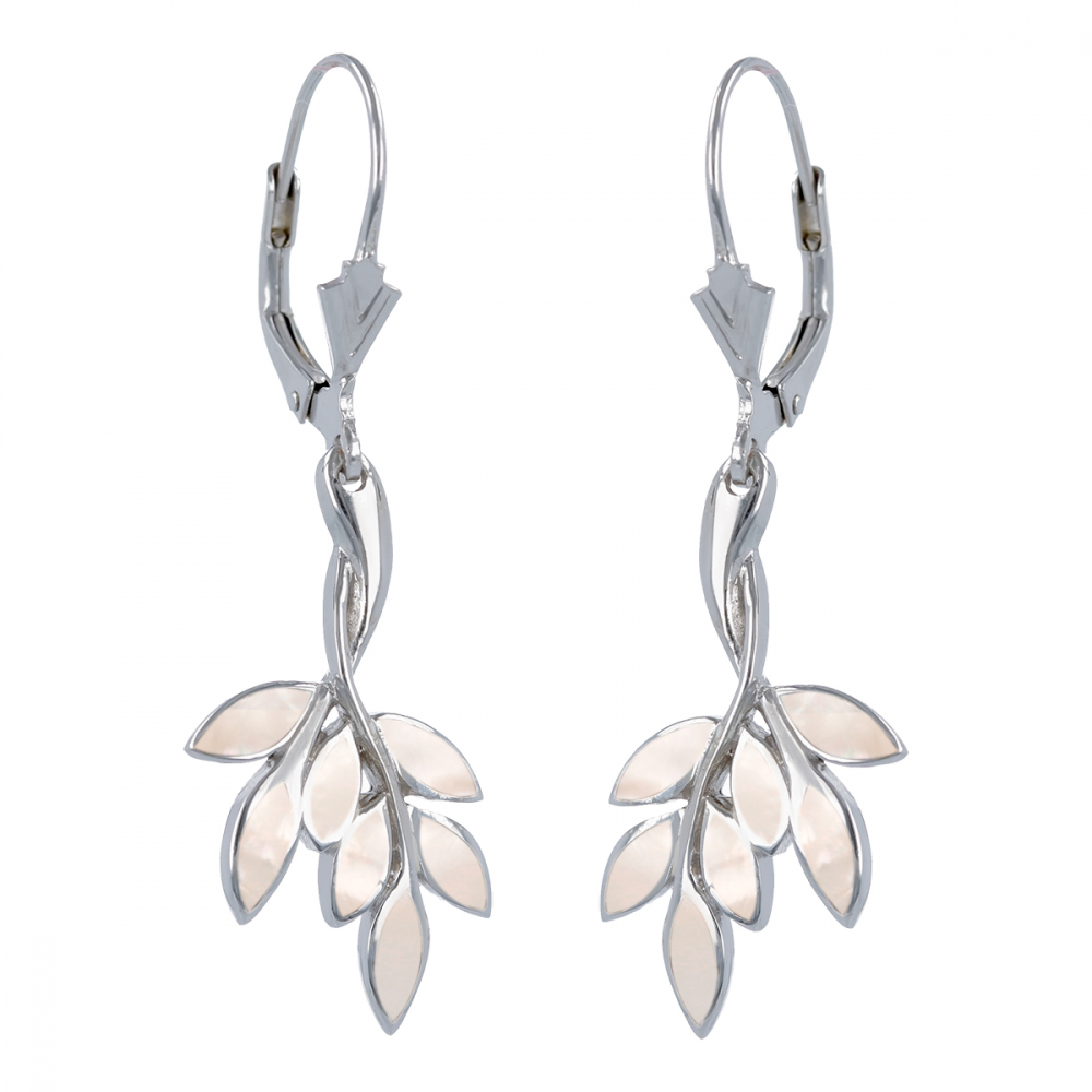 925 Sterling Silver Coral Flower Earrings