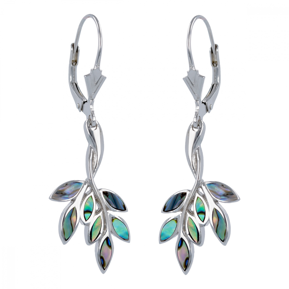 Ethnic labradorite earrings set with rhodium 925 sterling silver