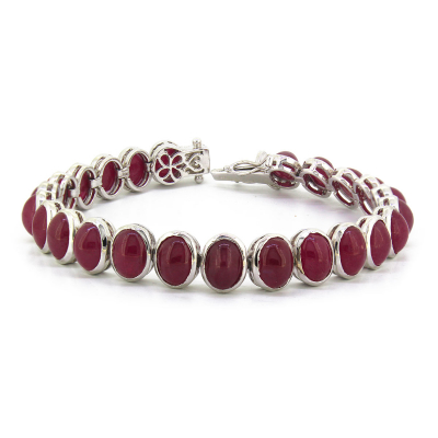925 Sterling Silver Ruby Oval Shape Bracelet
