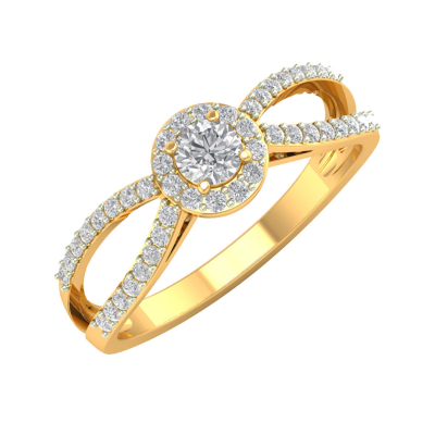 Bague Or 750 Jaune Diamants 2.282grs