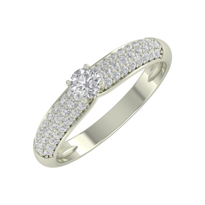Bague Or 750 Blanc Diamants 1.978grs