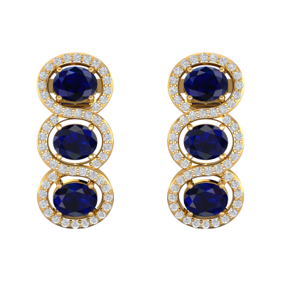 Boucles d'oreille Or 14K Jaune Saphir forme Ovale et Diamants 4.55grs