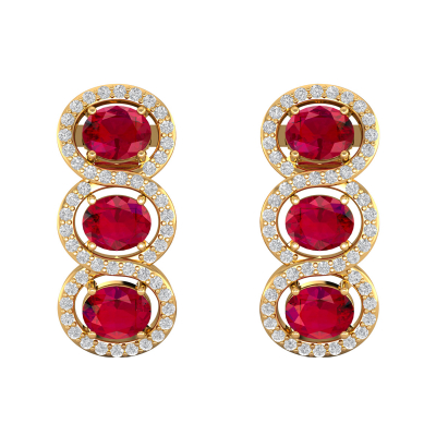 14K Gold Ruby Diamonds Earrings