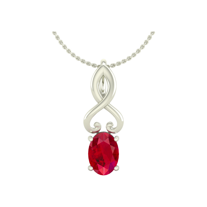 Collier Pendentif Or Blanc Rubis Chaine Or incluse 0.85grs
