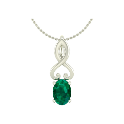 14K Gold Emerald Necklace Pendant Gold Chain included