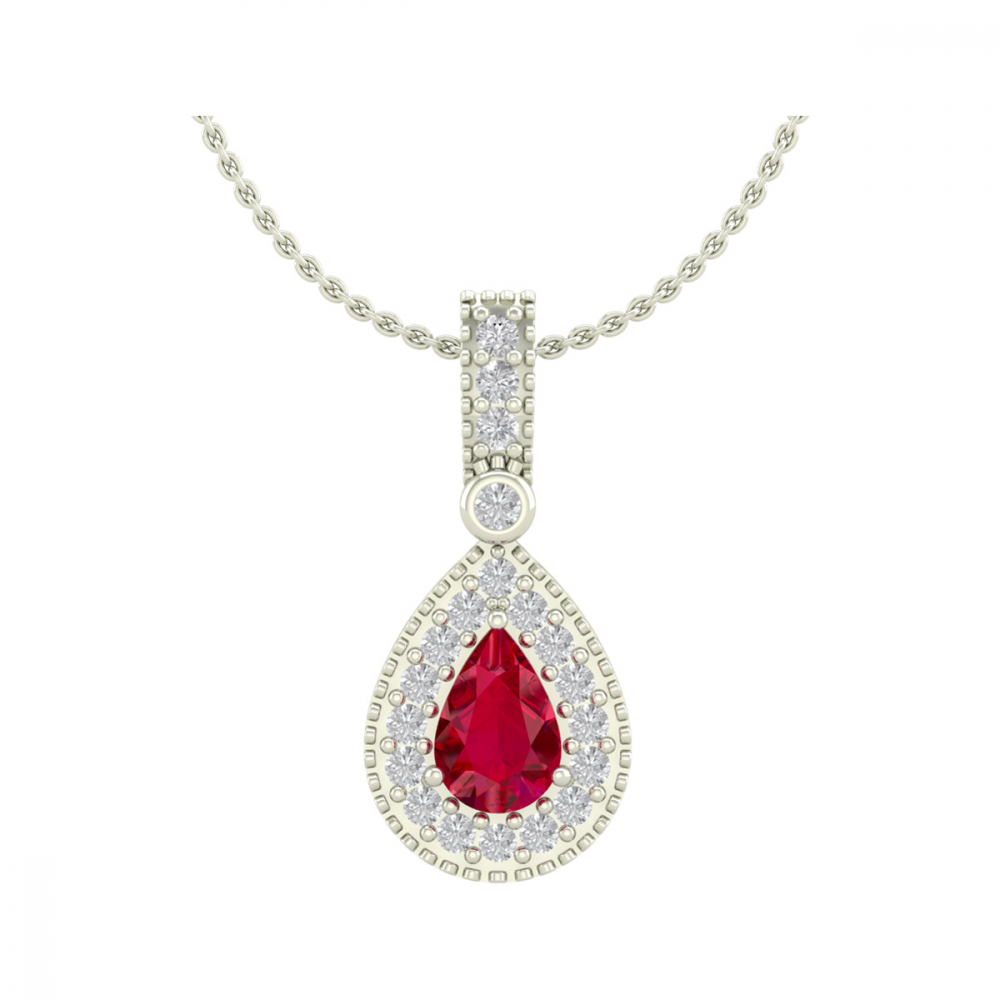 925 Silver Ruby Diamonds Necklace Pendant Chain included