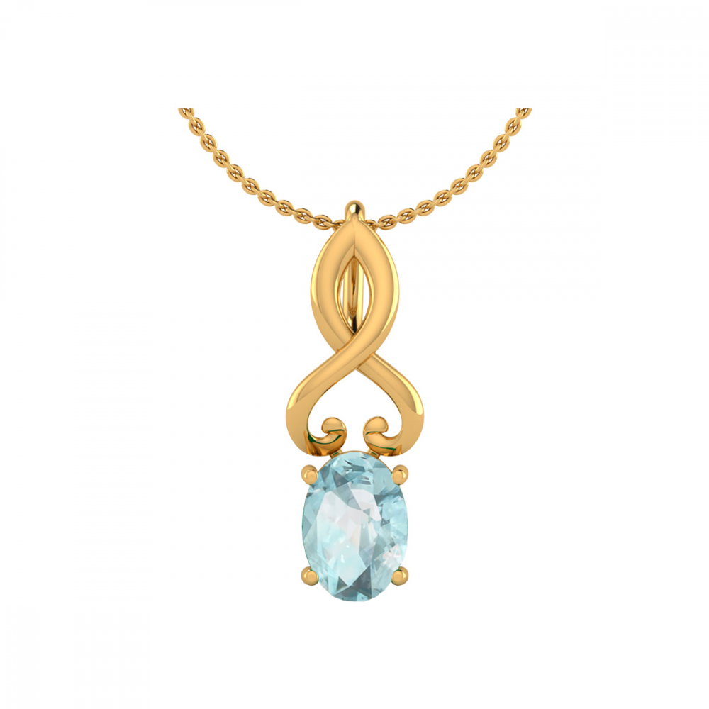 Collier Pendentif Or Jaune Aigue-Marine Chaine Or incluse 0.85grs