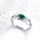 925 Silver Emerald Diamonds Ring