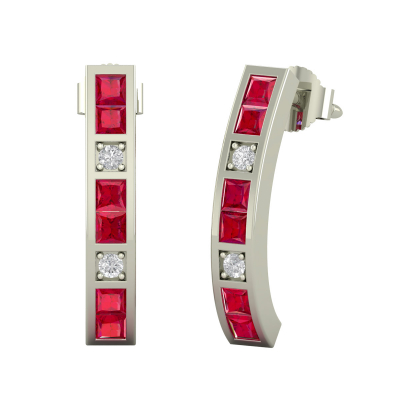 925 Silver Ruby Diamonds Earrings