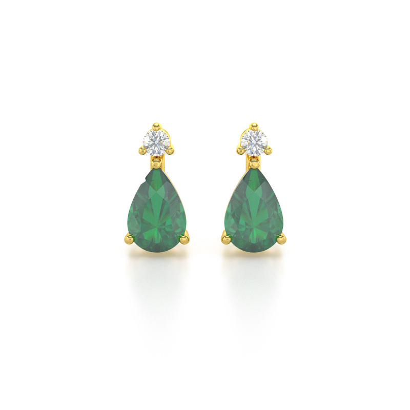 14K Gold Emerald Diamonds Earrings