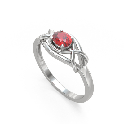 Bague Or Blanc Rubis 1.870grs