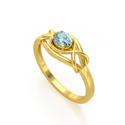 Bague Or Jaune Aigue-Marine 1.870grs