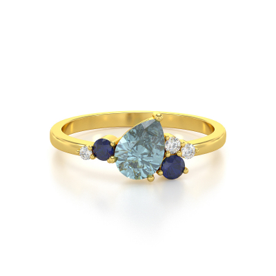 Bague Or Jaune Aigue-Marine Saphir et diamants 2.296grs