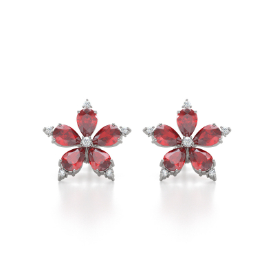 Boucles d'oreille Or Blanc Fleur Rubis et Diamants 4.52grs