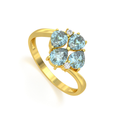 Bague Or Jaune Aigue-Marine et diamants 1.87grs