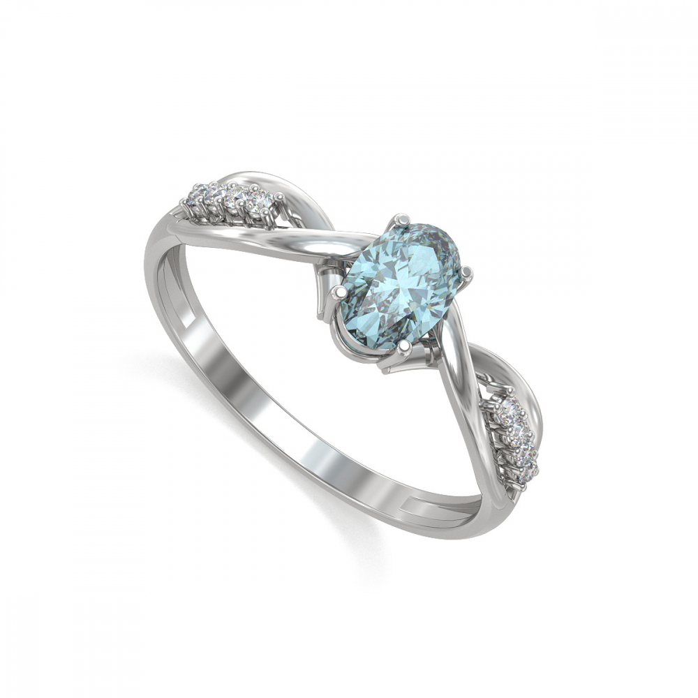 925 Sterling Silver Aquamarine Oval Shape Ring