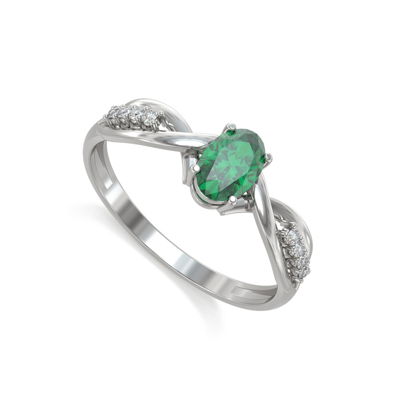925 Sterling Silver Emerald Oval Shape Ring